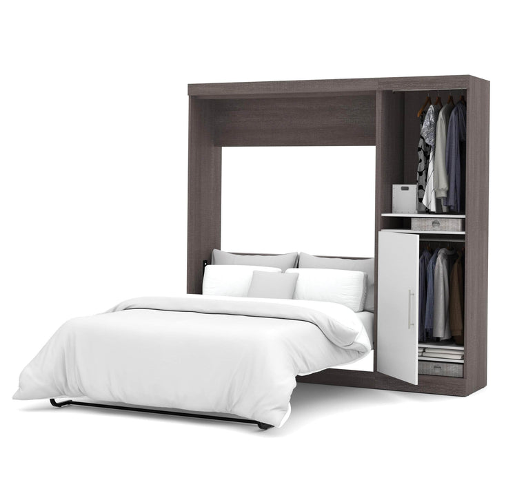 Pending - Bestar Full Murphy Bed Bark Grey & White Nebula Full Murphy Bed with Storage Unit (84W) - Available in 4 Colors