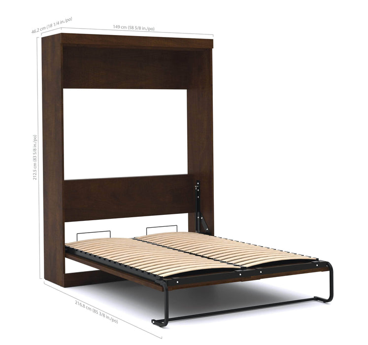 Pending - Bestar Full Murphy Bed Chocolate Pur Full Murphy Bed with Storage Unit (84W) - Available in 3 Colours