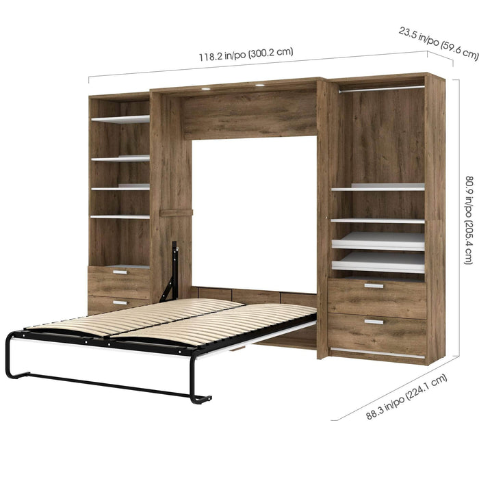 Pending - Bestar Full Murphy Bed Cielo Full Murphy Bed and 2 Storage Cabinets with Drawers (118W) - Available in 2 Colours