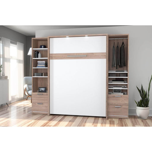 Pending - Bestar Full Murphy Bed Cielo Full Murphy Bed and 2 Storage Cabinets with Drawers (98W) - Available in 2 Colours