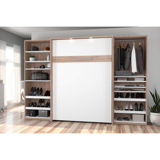 Pending - Bestar Full Murphy Bed Cielo Full Murphy Bed with 2 Storage Cabinets (118W) - Available in 2 Colours
