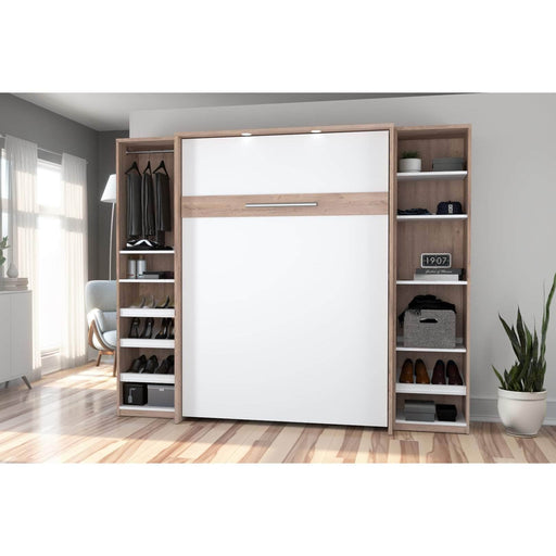 Pending - Bestar Full Murphy Bed Cielo Full Murphy Bed with 2 Storage Cabinets (98W) - Available in 2 Colours