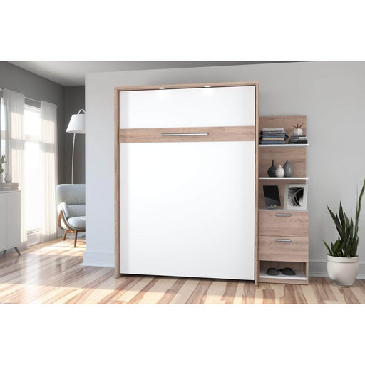 Pending - Bestar Full Murphy Bed Cielo Full Murphy Bed with Storage Cabinet (79W) - Available in 2 Colours