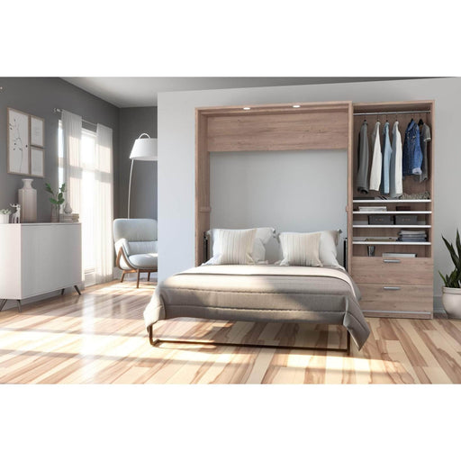 Pending - Bestar Full Murphy Bed Cielo Full Murphy Bed with Storage Cabinet (89W) - Available in 2 Colors