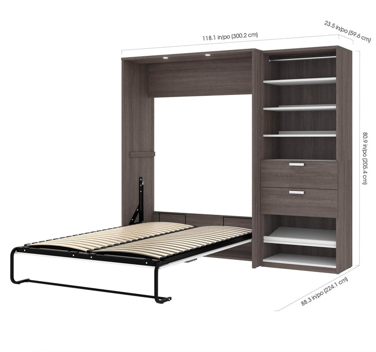 Pending - Bestar Full Murphy Bed Cielo Full Murphy Bed with Storage Cabinet (89W) - Available in 2 Colours