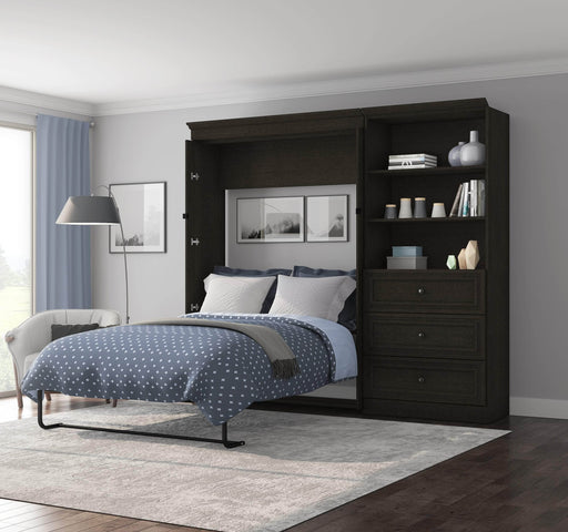 "Pending - Bestar Full Murphy Bed Deep Grey Versatile Full Murphy Bed and 1 Storage Unit (99"") - Deep Grey"