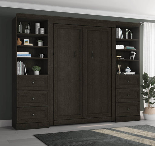 "Pending - Bestar Full Murphy Bed Deep Grey Versatile Full Murphy Bed and 2 Storage Units (113"") - Deep Grey"