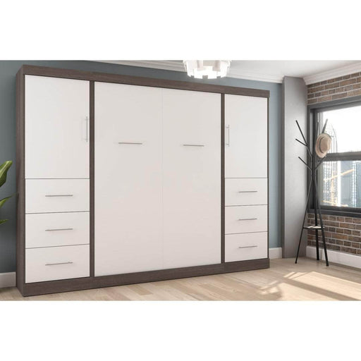 Pending - Bestar Full Murphy Bed Nebula  Full Murphy Bed and 2 Storage Units with Drawers (109W) - Available in 4 Colours