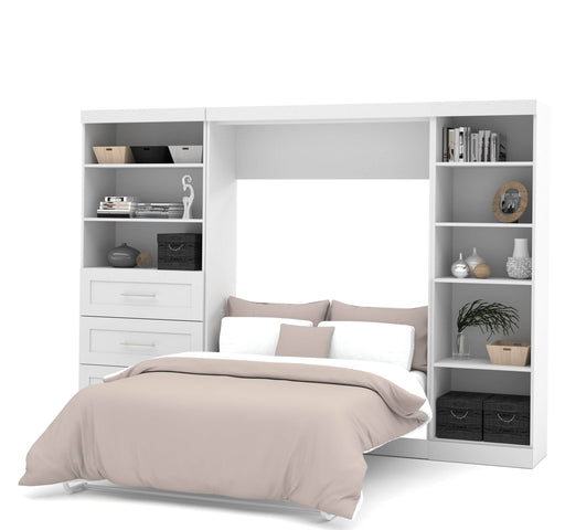 "Pending - Bestar Full Murphy Bed Pur Full Murphy Bed, 1 Storage Unit with Shelves, and 1 Storage Unit with Drawers (120"") - Available in 2 Colours"
