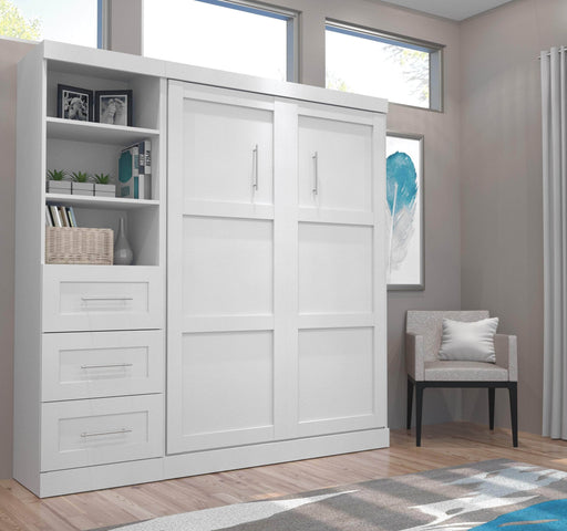 "Pending - Bestar Full Murphy Bed Pur Full Murphy Bed and 1 Storage Unit with Drawers (84"") - Available in 3 Colours"