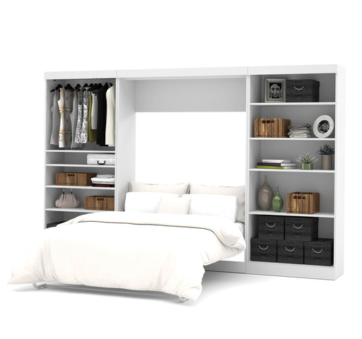 "Pending - Bestar Full Murphy Bed Pur Full Murphy Bed and 2 Storage Units (131"") - Available in 2 Colours"