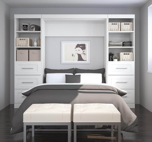 Pending - Bestar Full Murphy Bed Pur Full Murphy Bed and 2 Storage Units with Drawers (109W) - Available in 3 Colours