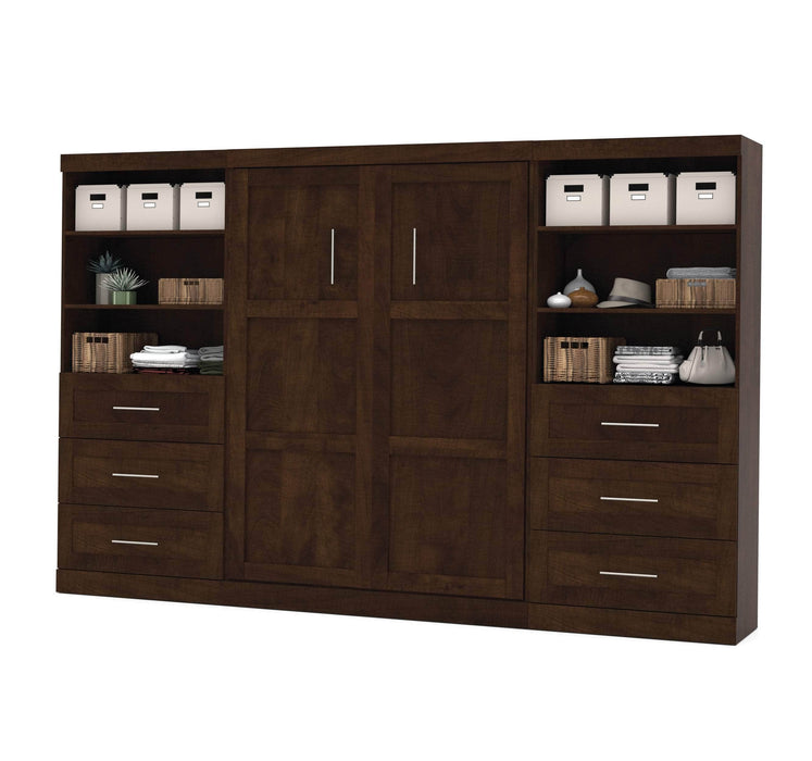 "Pending - Bestar Full Murphy Bed Pur Full Murphy Bed and 2 Storage Units with Drawers (131"") - Available in 2 Colours"