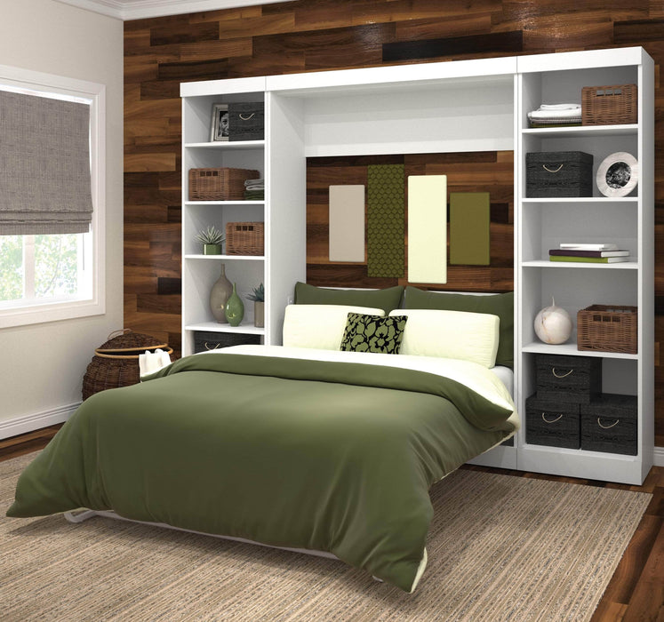 Pending - Bestar Full Murphy Bed Pur Full Murphy Bed with 2 Storage Units (109W) - Available in 3 Colors