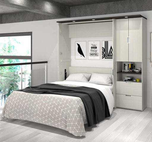 "Pending - Bestar Full Murphy Bed White Chocolate Lumina Full Murphy Bed with Desk and 1 Storage Unit (83"") - White Chocolate"