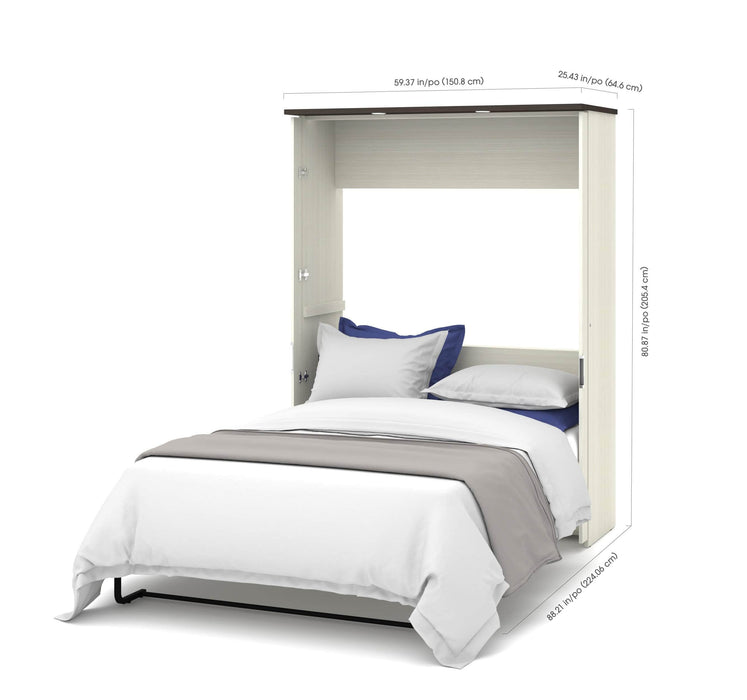 "Pending - Bestar Full Murphy Bed White Chocolate Lumina Full Murphy Bed with Desk and 2 Storage Units (107"") - White Chocolate"
