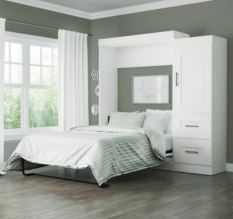 Pending - Bestar Full Murphy Bed White Edge Full Murphy Bed and Storage Unit with Drawers (85W) - White