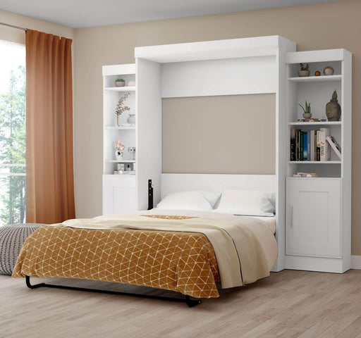 Pending - Bestar Full Murphy Bed White Edge Full Murphy Bed with 2 Storage Units (102W) - White