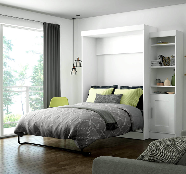 Pending - Bestar Full Murphy Bed White Edge Full Murphy Bed with Storage Unit (81W) - White