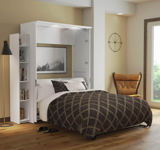 "Pending - Bestar Full Murphy Bed White Lumina Full Murphy Bed and 1 Storage Unit (69"") - White"