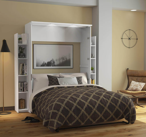 "Pending - Bestar Full Murphy Bed White Lumina Full Murphy Bed and 2 Storage Units (79"") - White"