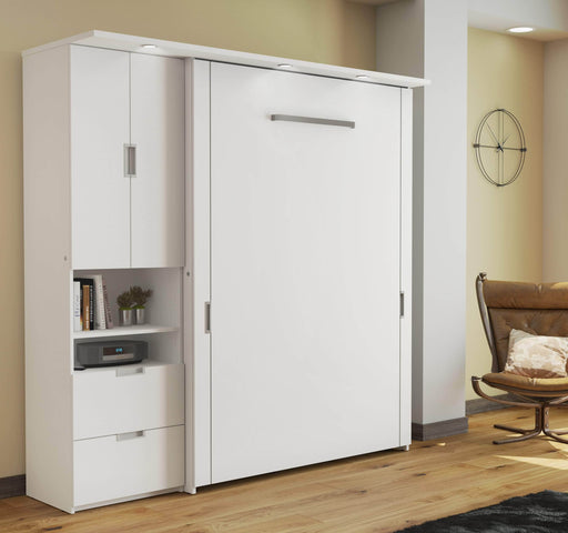 "Pending - Bestar Full Murphy Bed White Lumina Full Murphy Bed and one Storage Unit (82"") - White"