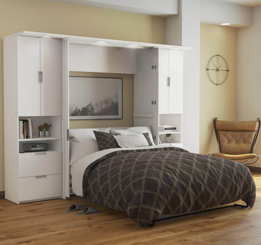 "Pending - Bestar Full Murphy Bed White Lumina Full Murphy Bed and two Storage Units (106"") - White"