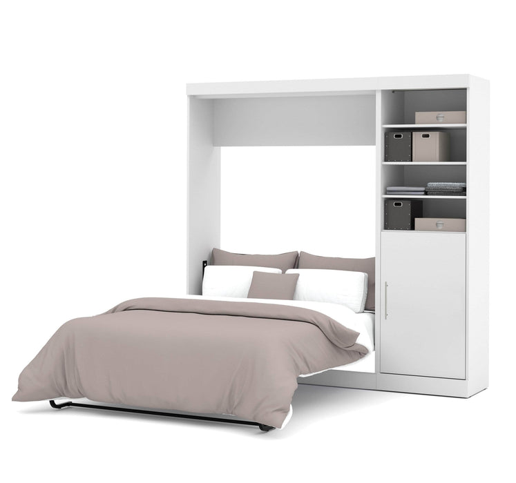 Pending - Bestar Full Murphy Bed White Nebula Full Murphy Bed with Storage Unit (84W) - Available in 4 Colours