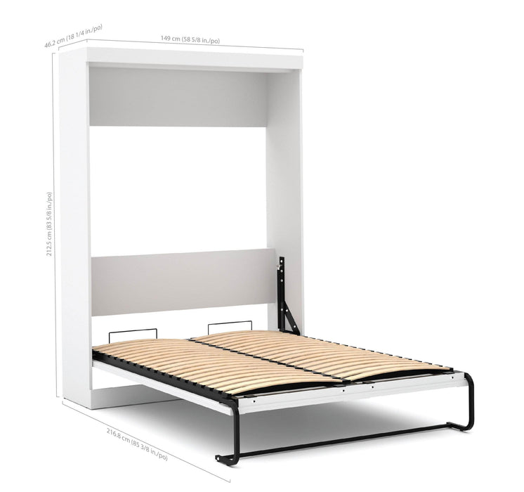 Pending - Bestar Full Murphy Bed White Pur Full Murphy Bed with 2 Storage Units (109W) - Available in 3 Colors