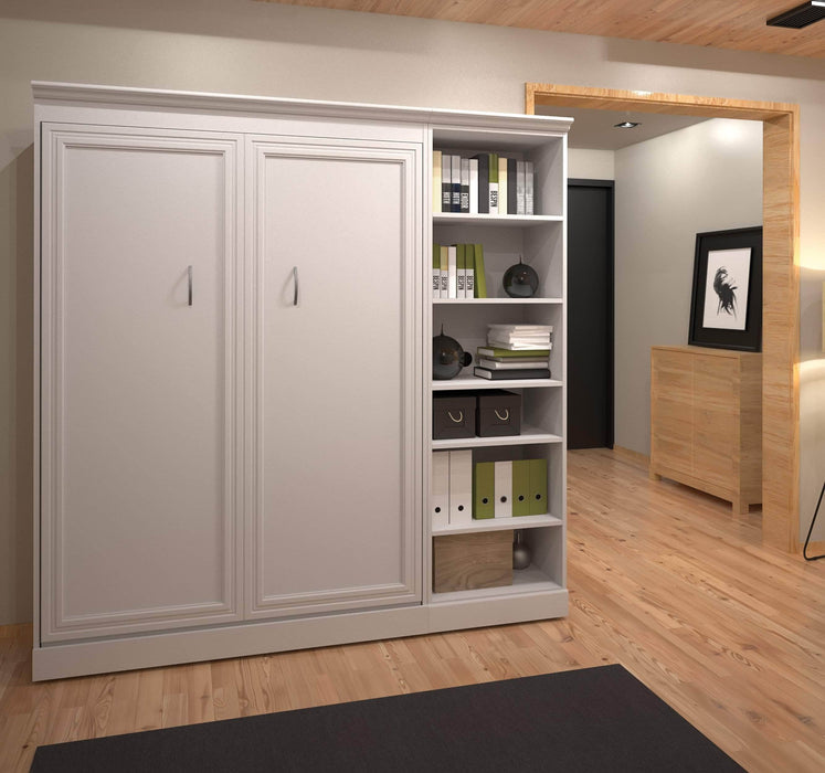 "Pending - Bestar Full Murphy Bed White Versatile Full Murphy Bed and 1 Storage Unit (84"") - White"