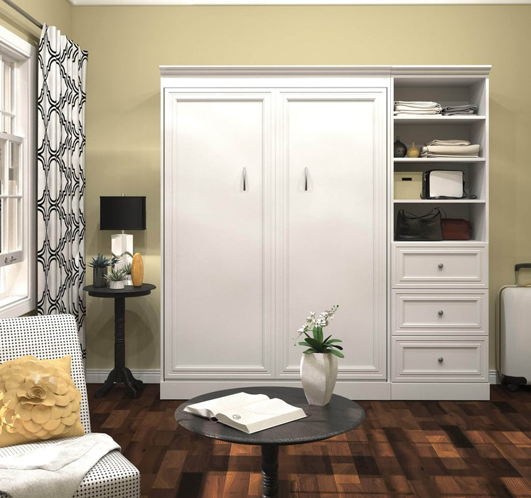"Pending - Bestar Full Murphy Bed White Versatile Full Murphy Bed and 1 Storage Unit with Drawers (84"") - White"