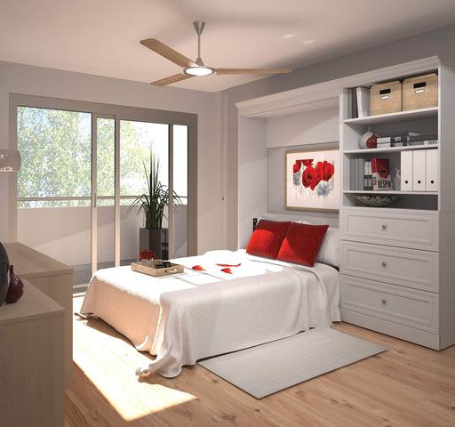 "Pending - Bestar Full Murphy Bed White Versatile Full Murphy Bed and 1 Storage Unit with Drawers (95"") - White"