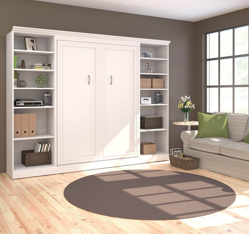 "Pending - Bestar Full Murphy Bed White Versatile Full Murphy Bed and 2 Storage Units (109"") - White"
