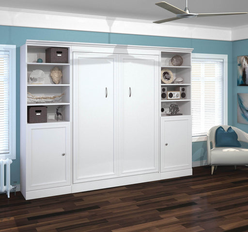 "Pending - Bestar Full Murphy Bed White Versatile Full Murphy Bed and 2 Storage Units with Doors (109"") - White"
