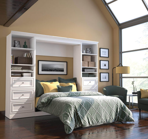 "Pending - Bestar Full Murphy Bed White Versatile Full Murphy Bed and 2 Storage Units with Drawers (109"") - White"