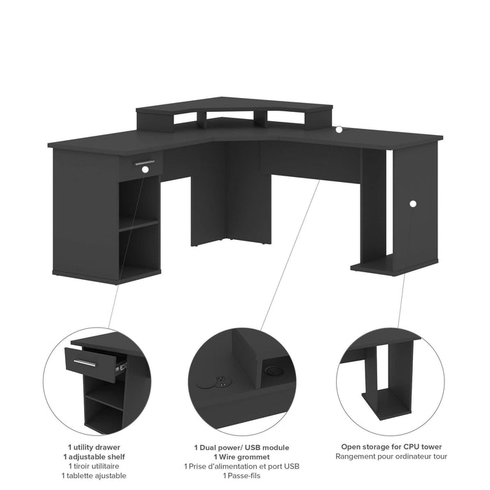 Pending - Bestar Gaming Desk Hampton L-Shaped Corner Gaming Desk - Available in 2 Colors