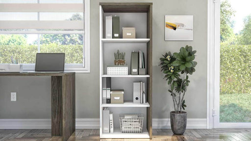 Gemma Bookcase - Walnut Grey & White