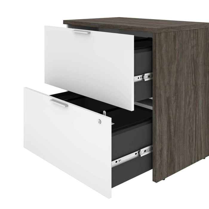 Pending - Bestar Gemma Lateral File Cabinet - Walnut Grey & White