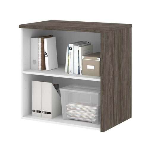 Pending - Bestar Gemma Low Storage Unit - Walnut Grey & White
