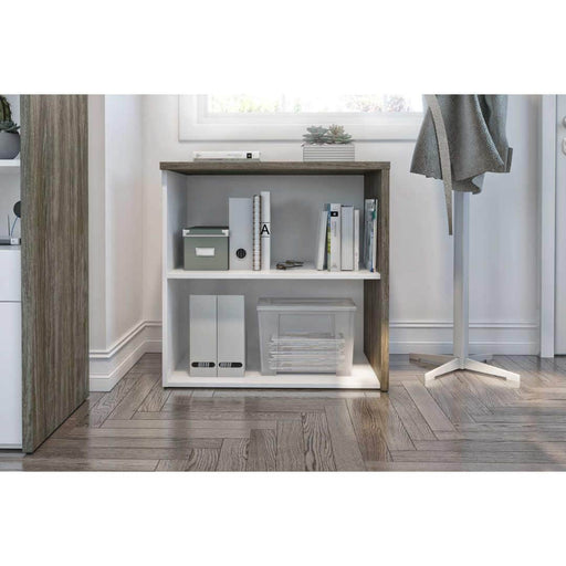 Gemma Low Storage Unit - Walnut Grey & White
