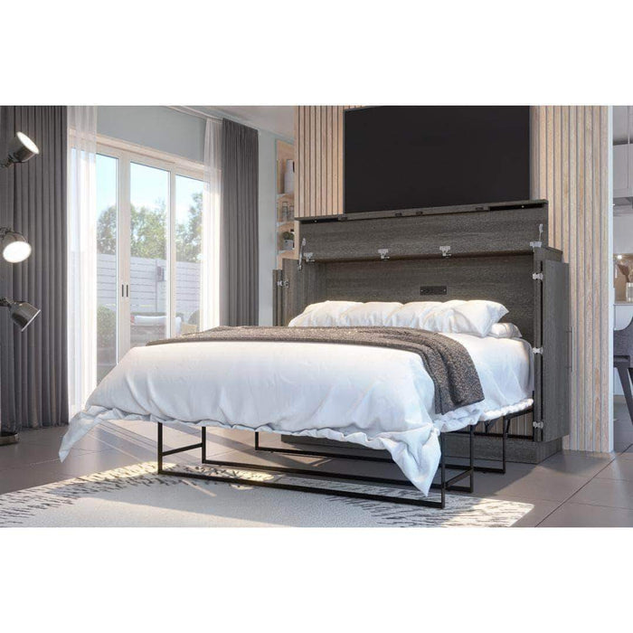 Pending - Bestar Grey Nebula Full Murphy Cabinet Bed with Mattress - Available in 2 Colors