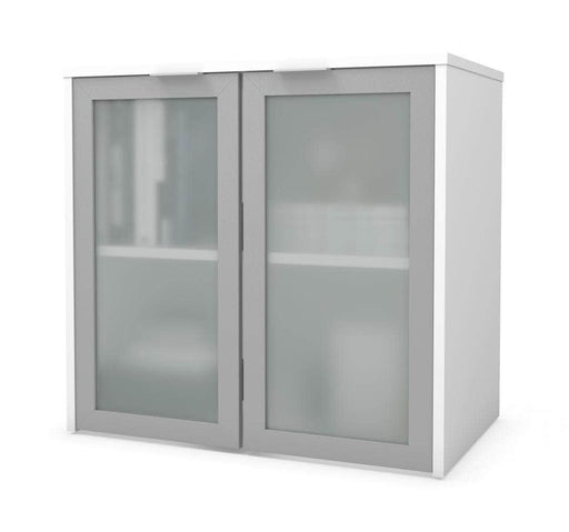 i3 Plus Desk Hutch with Frosted Glass Doors - White