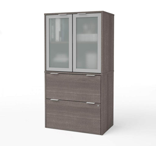 Pending - Bestar i3 Plus Lateral File Cabinet with Frosted Glass Doors Hutch - Bark Grey