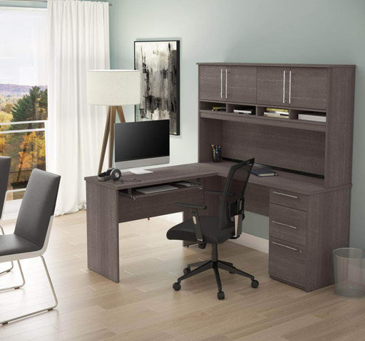Pending - Bestar Innova L-Shaped Desk with Pedestal and Hutch - Available in 2 Colours