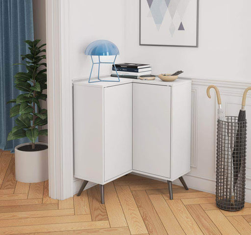 Pending - Bestar Krom Corner Storage Cabinet with Metal Legs - Available in 2 Colors