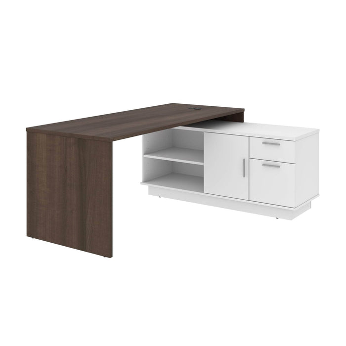 Pending - Bestar L-Desk Antigua & White Equinox L-Shaped Desk - Available in 2 Colors