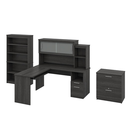 Pending - Bestar L-Desk Bark Grey Dayton 3-Piece set including an L-Shaped desk with hutch, a Lateral File Cabinet, and a Bookcase - Bark Grey