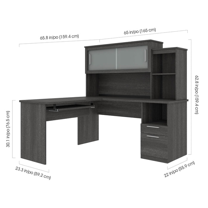 Pending - Bestar L-Desk Bark Grey Dayton 3-Piece set including an L-Shaped desk with hutch, a Lateral File Cabinet, and a Cubby Bookcase - Bark Grey