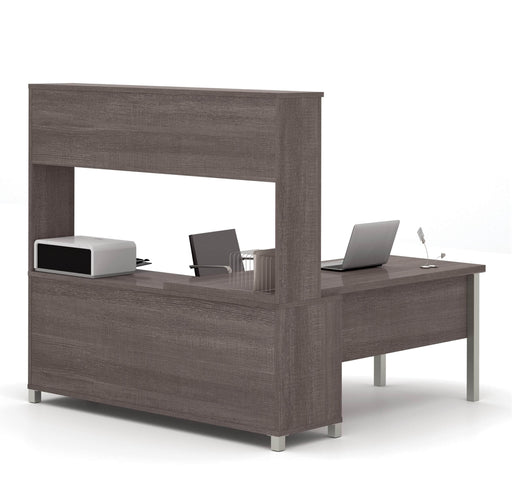 Pending - Bestar L-Desk Bark Grey Pro-Linea L-Shaped Desk with Hutch  - Bark Grey