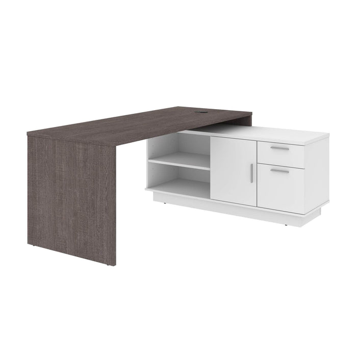 Pending - Bestar L-Desk Bark Grey & White Equinox L-Shaped Desk - Available in 2 Colors